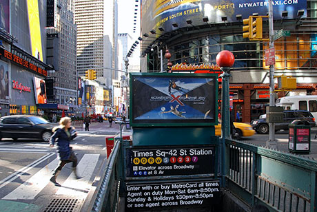 New York City Times Square Day Time 01 Subway Station Exit Loking North